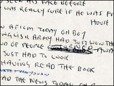 """Manuscrito de """"A day in the life"""" de John Lennon"""