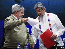 Luiz Inacio Lula da Silva (izq.) y Fernando Lugo, presidentes de Brasil y Paraguay.