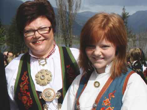 Traditional national costumes(bunad) from the Telemark region of Norway