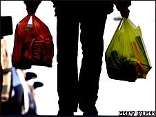 Persona con bolsas de mercado
