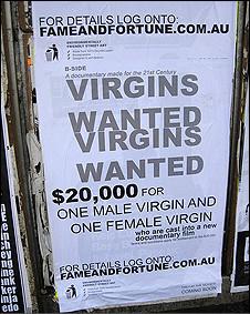 Cartaz pedindo virgens para o programa espalhados pela Austrália