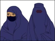 Niqab (esq.) e burca