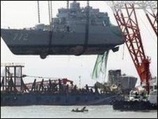 Xác của chiến hạm Cheonan được trục vớt