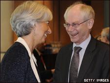 Herman Van Rompuy y Christine Lagarde