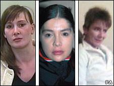 Montagem com as mulheres desaparecidas - Armitage, Blamires e Rushworth