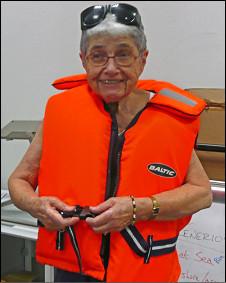 Hedy Epstein durante uma tentativa anterior de chegar a Gaza, em 2008
