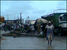The busy border town of Aflao was the last stop for the BBC Africa Kicks bus in Ghana