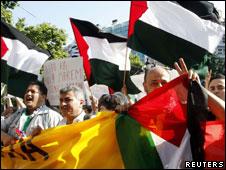 Protestos contra Israel pelo bloqueio a Gaza