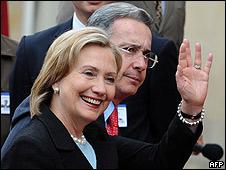 Llegada de Hillary Clinton al Palacio de Nari�o junto al presidente �lvaro Uribe