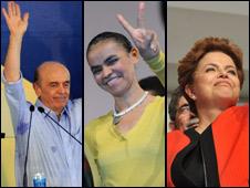Da esquerda para a direita, José Serra, Marina Silva e Dilma Rousseff, candidatos à Presidência (Fotos: Agência Brasil)