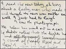 Lirik tulisan tangan John Lennon