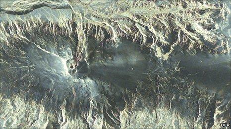 Imagen captada por el TerraSAR-X del volcán Eyjafjallajoekull
