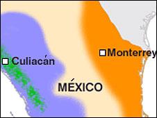 Mapa carteles en México
