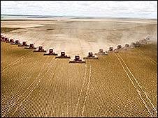 Recolección agrícola en Mato Grosso, Brasil