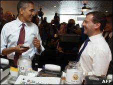 Обама и Медведев во время визита последнего в США