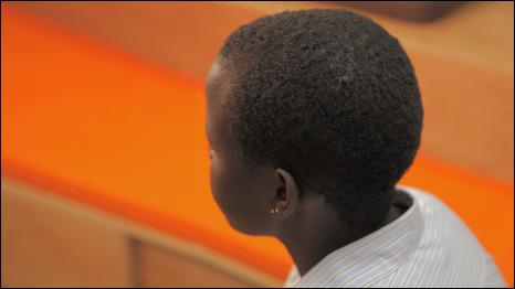 Juliet, former Ugandan child soldier. Juliet talks to school children in London about her experiences. [picture: War Child UK]