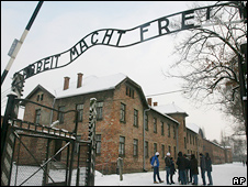 The main entrance to Auschwitz