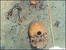 Esqueleto de La mujer de Las Palmas El esqueleto fue encontrado casi completo en una cueva inundada.(Foto: Jerónimo Avilés, INAH)