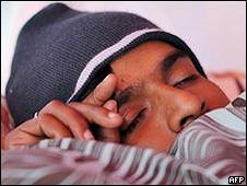 Parameswaran Subramanyam durante a greve de fome (foto: AFP)