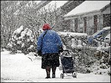 Anciana, un día de frío