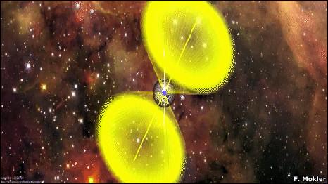 Impressão artística do pulsar PSR J2007+2722 visto da Terra (F. Mokler / Science)