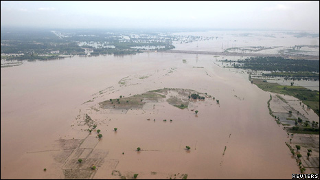 The flooded Indus river basin in Pakistan's Muzaffargarh district of Punjab province