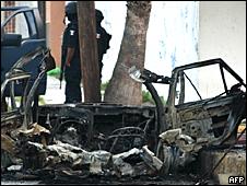 Carro queimado em Tamaulipas