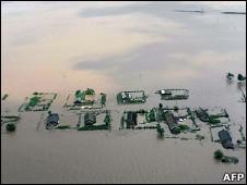 Vista de las inundaciones en Corea del Norte
