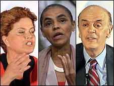 Dilma Rousseff, Marina Silva y José Serra, candidatos a la presidencia