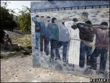 Mural sobre el tránsito de migrantes en el estado mexicano de Coahuila.