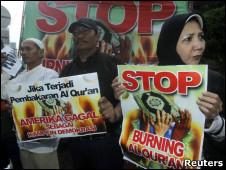 Manifestación contra la quema del Corán