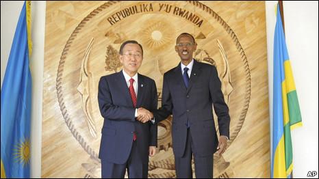 United Nations Secretary-General Ban Ki-moon, left, with Rwandan President Paul Kagame, right in Kigali, Rwanda, Wednesday September 08, 2010