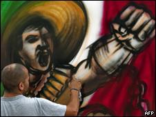 Grafitti conmemorativo del Bicentenario de la Independencia en México