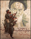 Iraqi soldiers pose in front of a huge bullet-pocked mural of Iranian leader Ayatollah Khomeini. AFP Getty