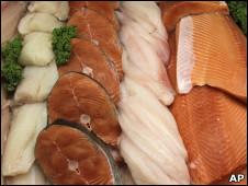 市場展示販賣的魚肉