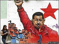 Mural del presidente Hugo Chávez en Caracas