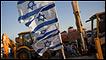 Banderas de Israel frente a excavadoras