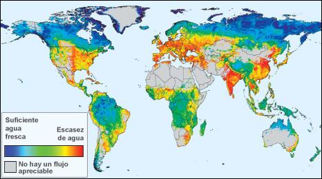 Mapa de la distribución del agua