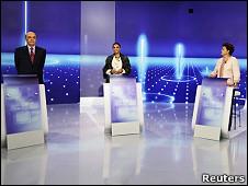 José Serra, Marina Silva e Dilma Rousseff