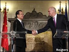 温家宝与希腊总理帕潘德里