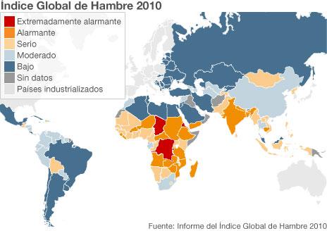 Mapa del hambre en el mundo