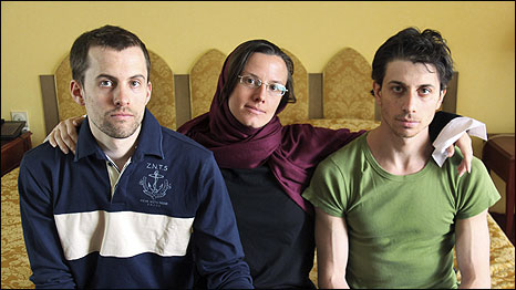 Sarah Shourd (centre) in September 2010, after her release. Shane Bauer and Josh Fattal were captured with Sarah but are still in prison in Iran. Cindy Hickey (left), Shane Bauer's mother; and Laura Fattal (right), Josh Fattal's mother. Photo: Emmanuel Dunand/AFP/Getty Images