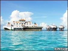 南沙美济礁上的中国渔政设施(新华社资料图片)