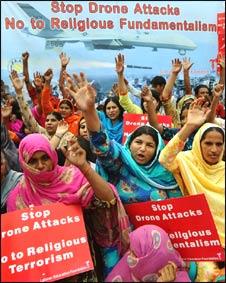 Manifestación anti aviones no tripulados