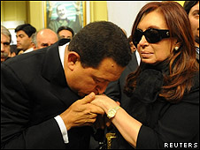 Cristina Fernández y Hugo Chávez