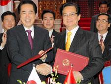 Hai thủ tướng Naoto Kan và Nguyễn Tấn Dũng