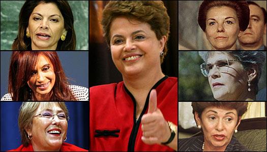 De izquierda a derecha: Laura Chinchilla, presidenta de Costa Rica, Dilma Rousseff, presidenta de Brasil, Cristina Fernández de Kirchner, presidenta de Argentina, Violeta Chamorro, ex presidenta de Nicaragua, Michelle Bachelet, ex presidenta de Chile y Mireya Moscoso, ex presidenta de Panamá