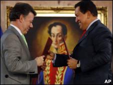 Juan Manuel Santos e Hugo Chávez
