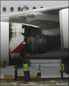 После инцидента 4 ноября Qantas прекратила полеты всех своих лайнеров A380.