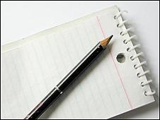 Lápiz y cuaderno de notas